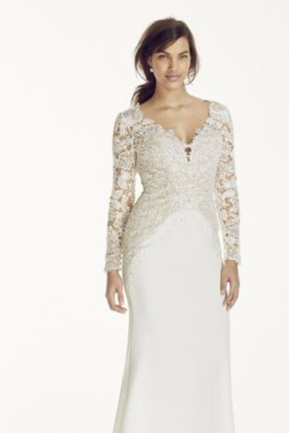 Davids Bridal Satin Lace Plunge Gown
