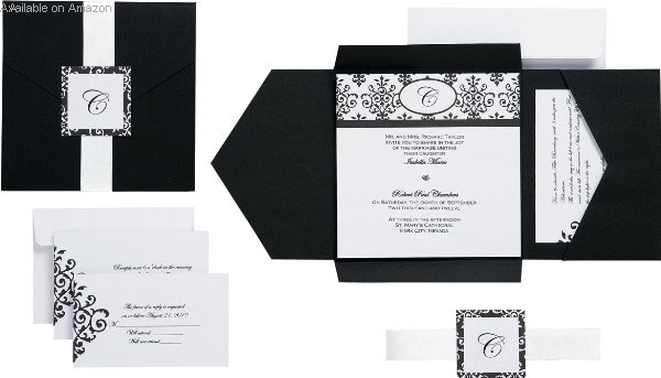 Amazon Black And White Monogram Invitation