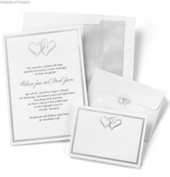 Silver Double Heart Wedding Invitation